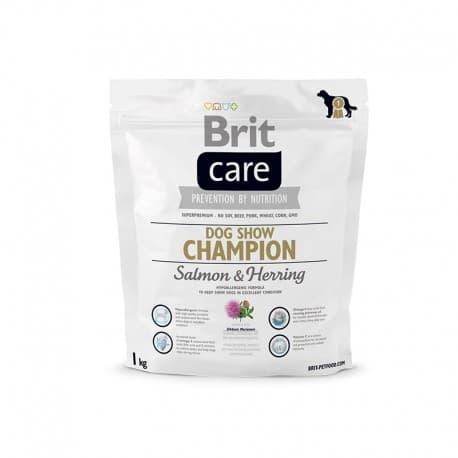 Брит 1 кг NEW Care Dog Show Champion для выставочн.собак, лосось и сельдь с рис.