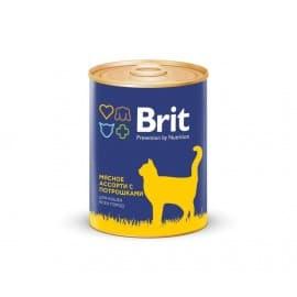 БРИТ Консервы для кошек BEEF AND OFFAL MEDLEY Мясное ассорти с потрошками, 340 г