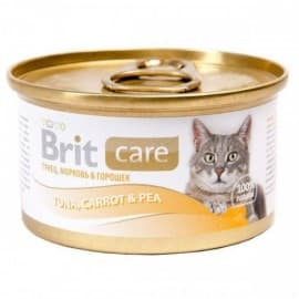 Брит Консервы д/кошек Brit Care Tuna,Carrot&Pea Тунец, морковь и горошек, 80г