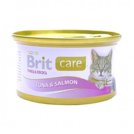 Брит Консервы д/кошек Brit Care Tuna&Salmon Тунец и лосось, 80г