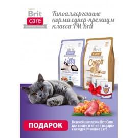 Брит 2кг Care Cat Sunny Beautiful Hair для кожи и шерсти кошек + Пауч Морской лещ