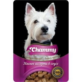 Chammy Корм консервированный для собак, мясное ассорти в соусе, 85 гр