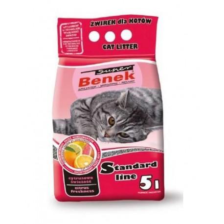 Наполнитель для кошек S.Benek комкующийся 5л цитрусовая свежесть