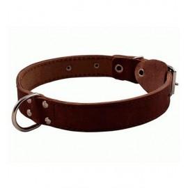 Ошейник кожаный двойной с кольцом посередине шир. 20 мм, обхват шеи 27-35 см