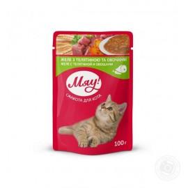 Влажный корм Мяу! для взрослых кошек, желе с телятиной и овощами (0,1 кг)