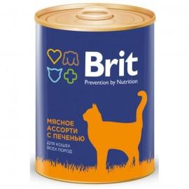 Консервы Brit для кошек, мясное ассорти с печенью (0,34 кг)