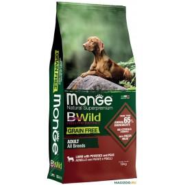 Сухой беззерновой корм Monge BWILD ADULT LAMB для взрослых собак всех пород с ягненком (12 кг)