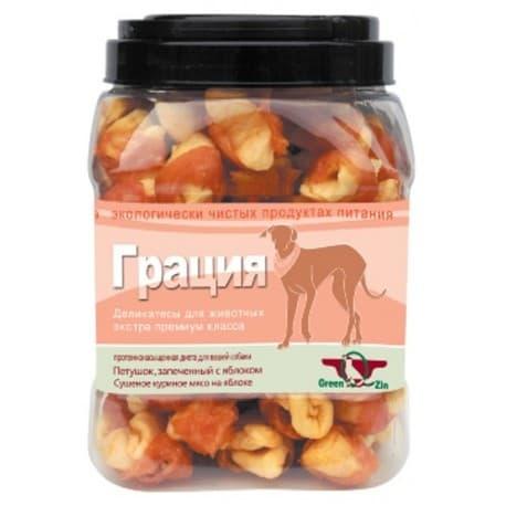 Лакомство для собак Green Qzin ГРАЦИЯ (Сушеное гусиное мясо на яблоке туба 750гр