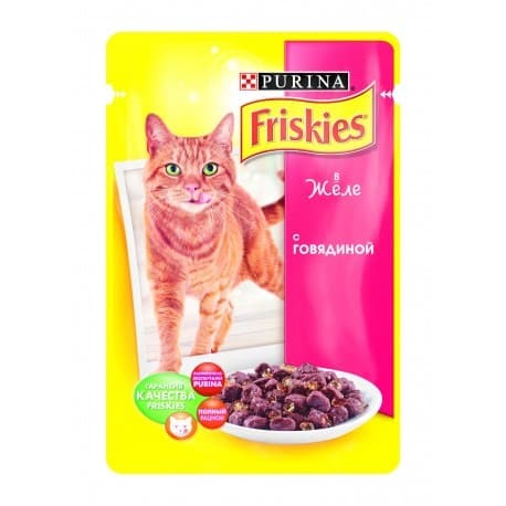 FRISKIES консервы с говядиной в желе для взрослых кошек (0,1 кг.)