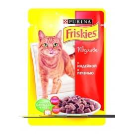 FRISKIES консервы с индейкой и печенью в подливе для взрослых кошек (0,1 кг.)