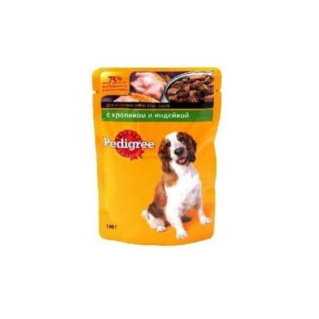 Влажный корм для собак Pedigree Кролик,индейка (100гр.)