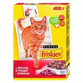 Friskies Корм сухой с мясом курицей и печенью и для взрослых кошек (0,4 кг.)
