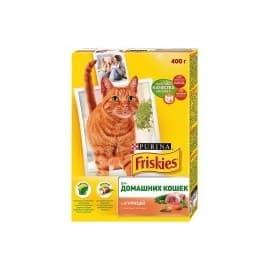 Friskies Корм сухой полнорационный для домашних кошек с курицей и садовой зеленью (0,4 кг.)