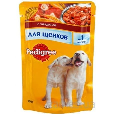 Влажный корм для собак Pedigree Для щенков с говядиной (100гр.)