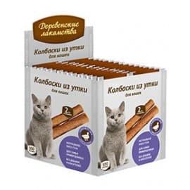 Лакомства для кошек Мясные мини:колбаски из утки для кошек (100шт)