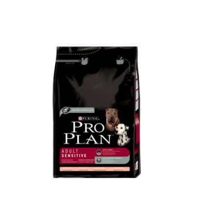 Pro Plan Корм сухой полнорацион. для взрослых собак с чувствительной кожей, с лососем и рисом (3 кг.)
