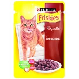 FRISKIES консервы с говядиной в подливе для взрослых кошек (0,1 кг.)