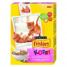 Friskies Корм сухой полнорационный для котят с курицей молоком и полезными овощами. (0,4 кг.)