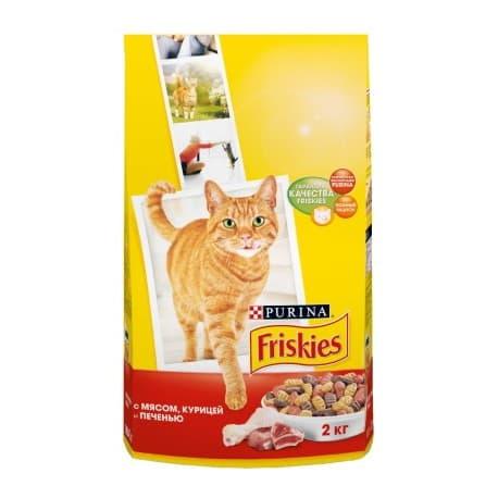 Friskies Корм сухой полнорационный для взрослых кошек мясное ассорти с мясом курицей и печенью (2 кг.)