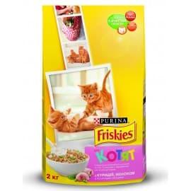 Friskies Корм сухой полнорационный для котят с курицей молоком и полезными овощами (2 кг.)