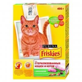 Friskies Корм сухой полнорационный для стерилизованных кошек и котов, с кроликом и полезными овощами (0,4 кг.)