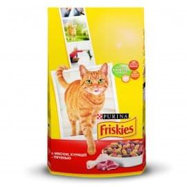 Friskies Корм сухой полнорационный для взрослых кошек мясное ассорти с мясом курицей и печенью (10 кг.)