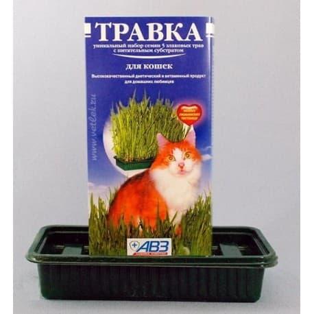 Травка для кошек АВЗ, уникальный набор семян 5 злаковых трав с питательным субстрактом (30гр.) Артикул ABZ038