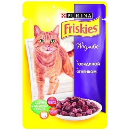FRISKIES консервы с говядиной и ягненком в подливе для взрослых кошек (0,1 кг.)