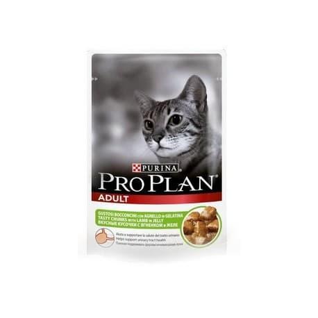 Pro Рlan Корм консервы полнорационные для взрослых кошек с ягненком (пакет 0,085 кг.)
