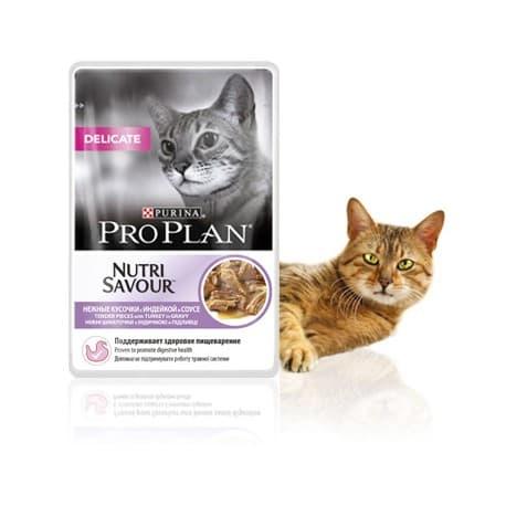 Pro Рlan Корм полнорац. Консервир. для взрослых кошек с чувств. Пищеварением с индейкой в соусе (пакет 0,085 кг.)