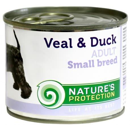 NATURE'S PROTECTION Полноценный корм c телятиной и уткой для взрослых собак маленьких пород 200гр.