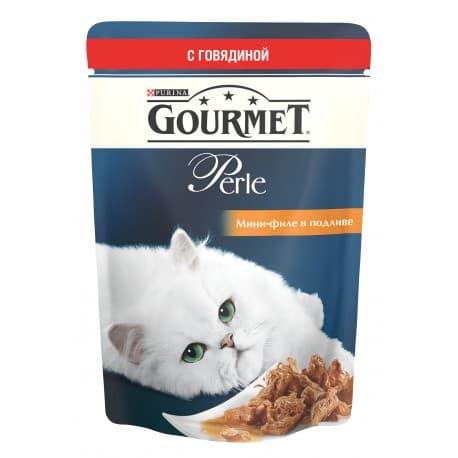 GOURMET PERLE корм консервы полнорационные для взрослых кошек с говядиной мини филе в поливе (0,085 кг.)