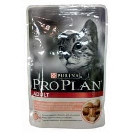Pro Рlan Корм полнорационные консервы для взрослых кошек с лососем в соусе (пакет 0,085 кг.)
