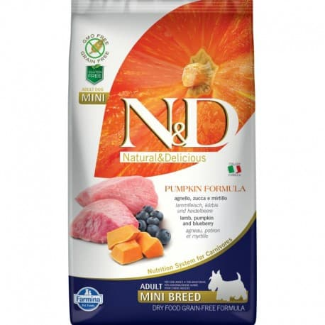 N&D DOG GF PUMPKIN LAMB & BLUEBERRY ADULT MINI 0,8кг
