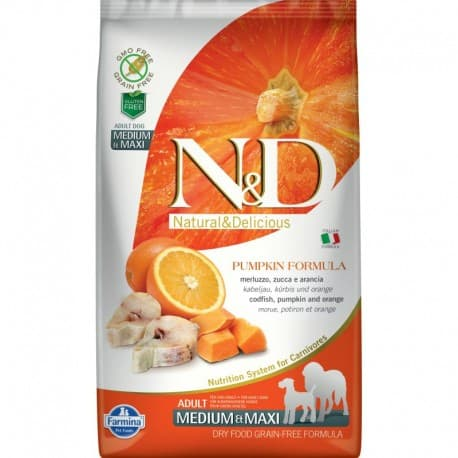 N&D DOG GF PUMPKIN CODFISH & ORANGE ADULT MEDIUM & MAXI 2,5кг