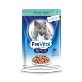 PreVital Премиум консервы для кошек, в соусе для стерилизованных кошек с птицей, 100 гр