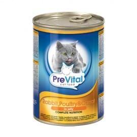 PreVital Chunks Cat rabbit, poultry, carrot in jelly (Кролик, птица, морковь в желе), 415 гр