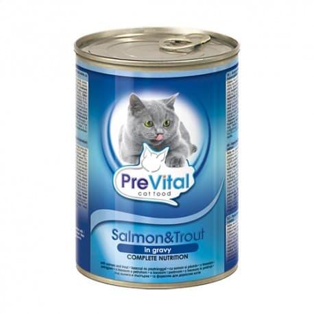 PreVital Chunks Cat salmon, trout in gravy (Лосось, кревеки в соусе), 415 гр